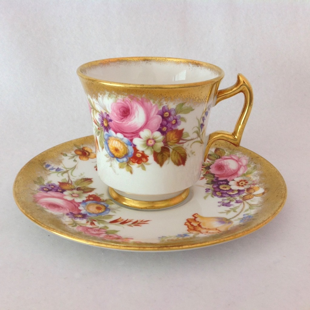 Royal Chelsea Bone China 5007A Gold and Floral Cabinet Teacup and ...