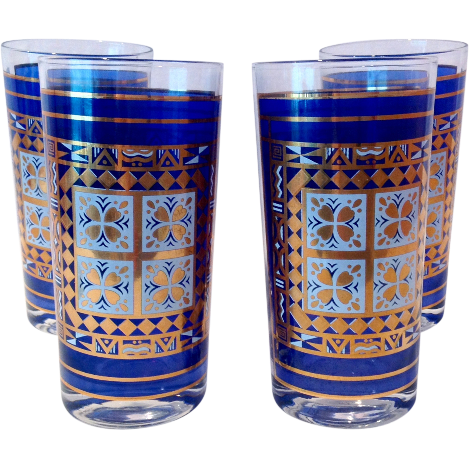 Set of Four Mid Century Glass Blue and Gold Highball Tumblers
