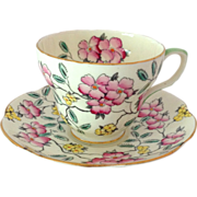 Foley Bone China Springdale Pink Floral Tea Cup and Saucer
