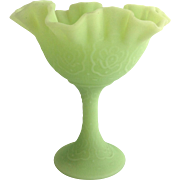Fenton Persian Medallion Lime Sherbet 9222 High Footed Comport 1970s