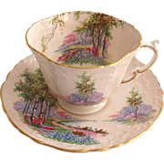 Aynsley Bone China Bluebell Time C493/3 Woodland Scene on Pink Ground Teacup and Saucer