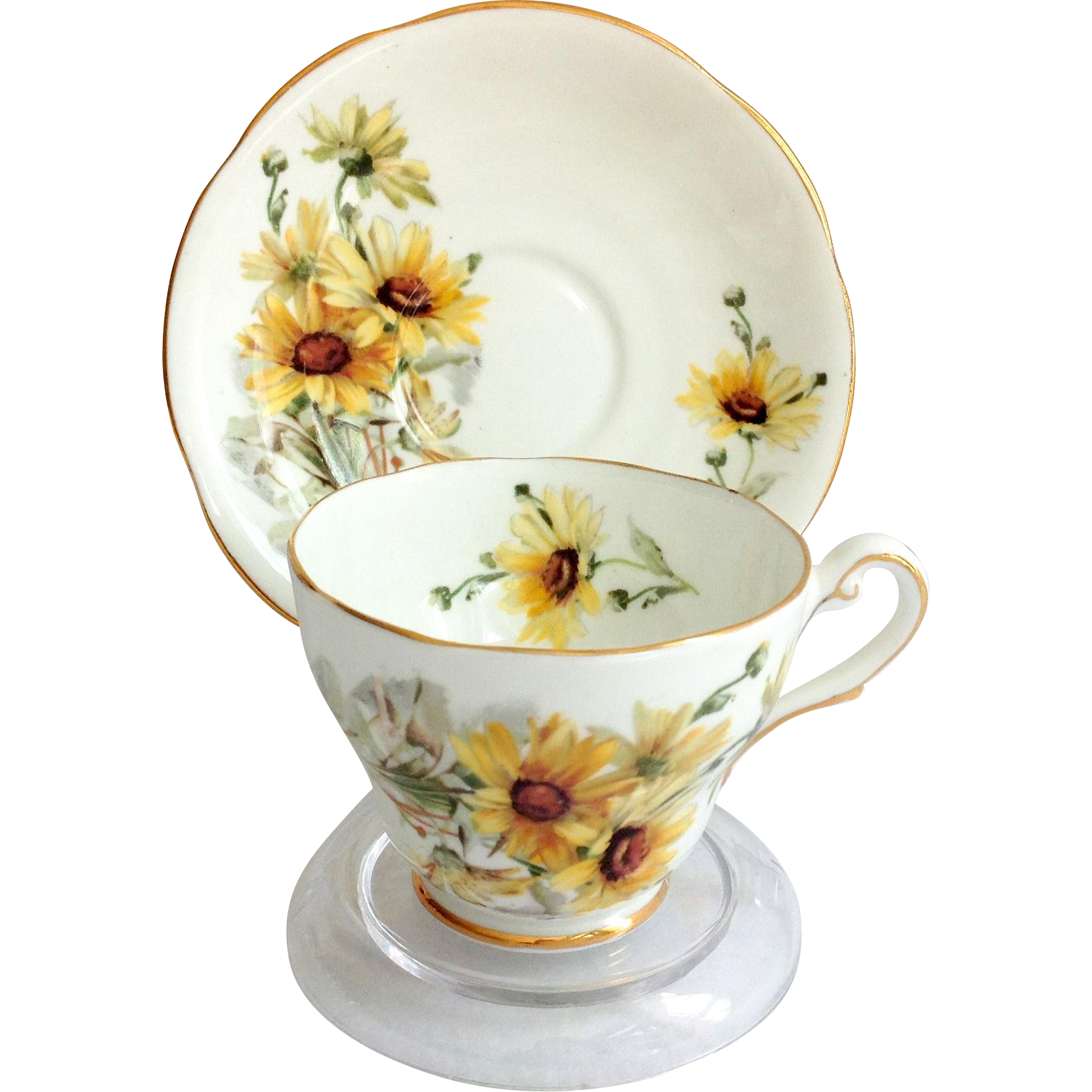 Royal Standard Bone China Brown Eyed Susan  Footed Teacup and saucer