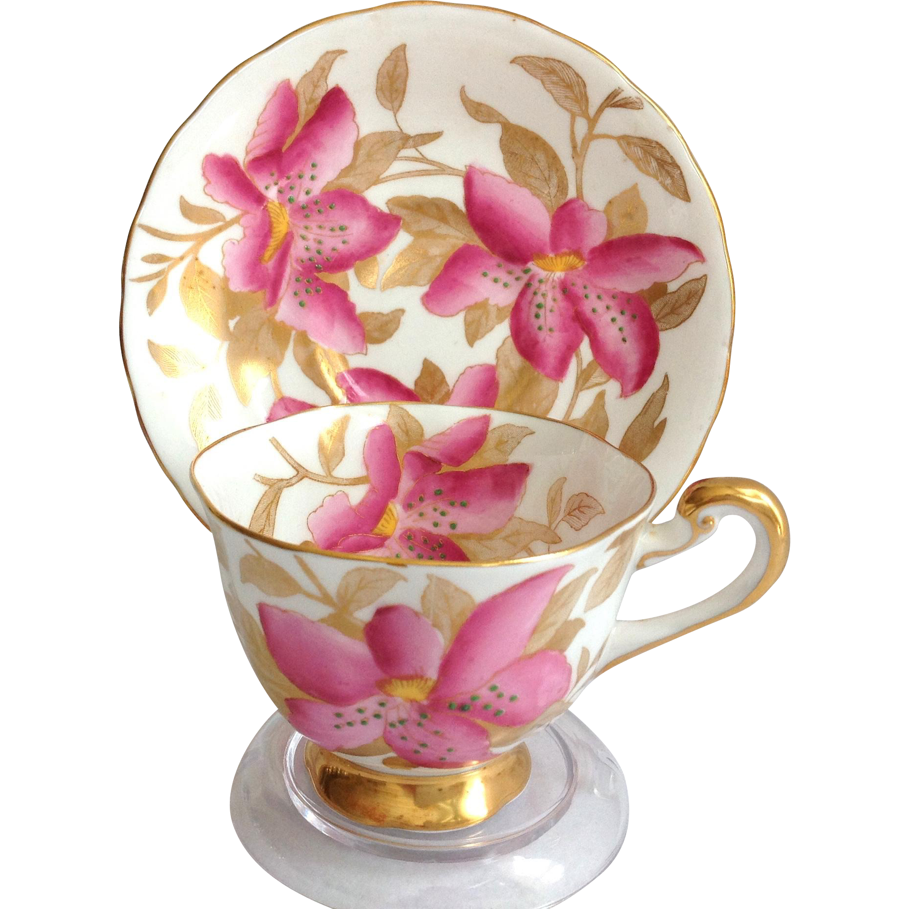 Royal Chelsea Bone China Pink Lily Teacup and Saucer
