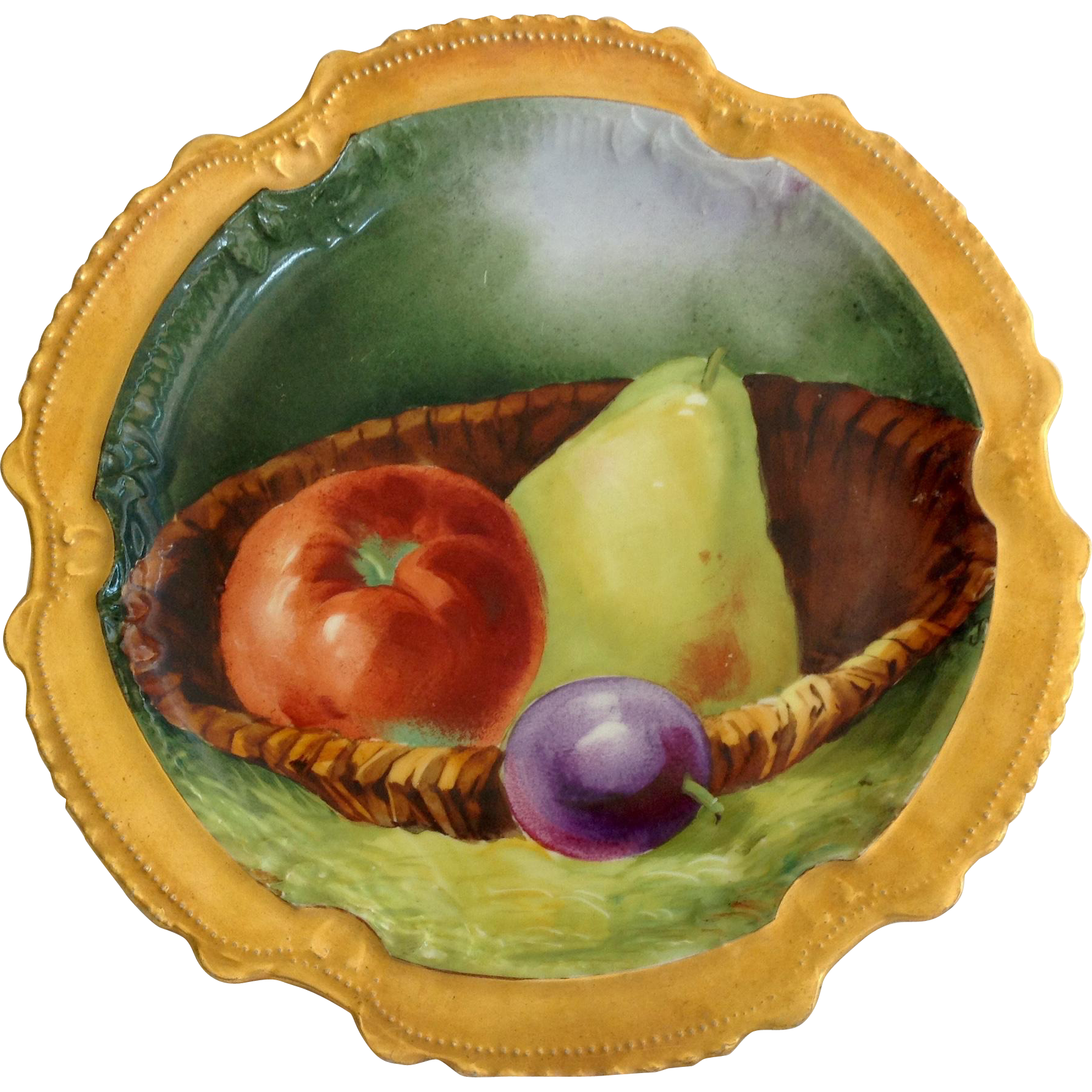 Coronet Limoges France Factory Decorated Gilded Rim Still-Life Fruits Plate Early 1900s