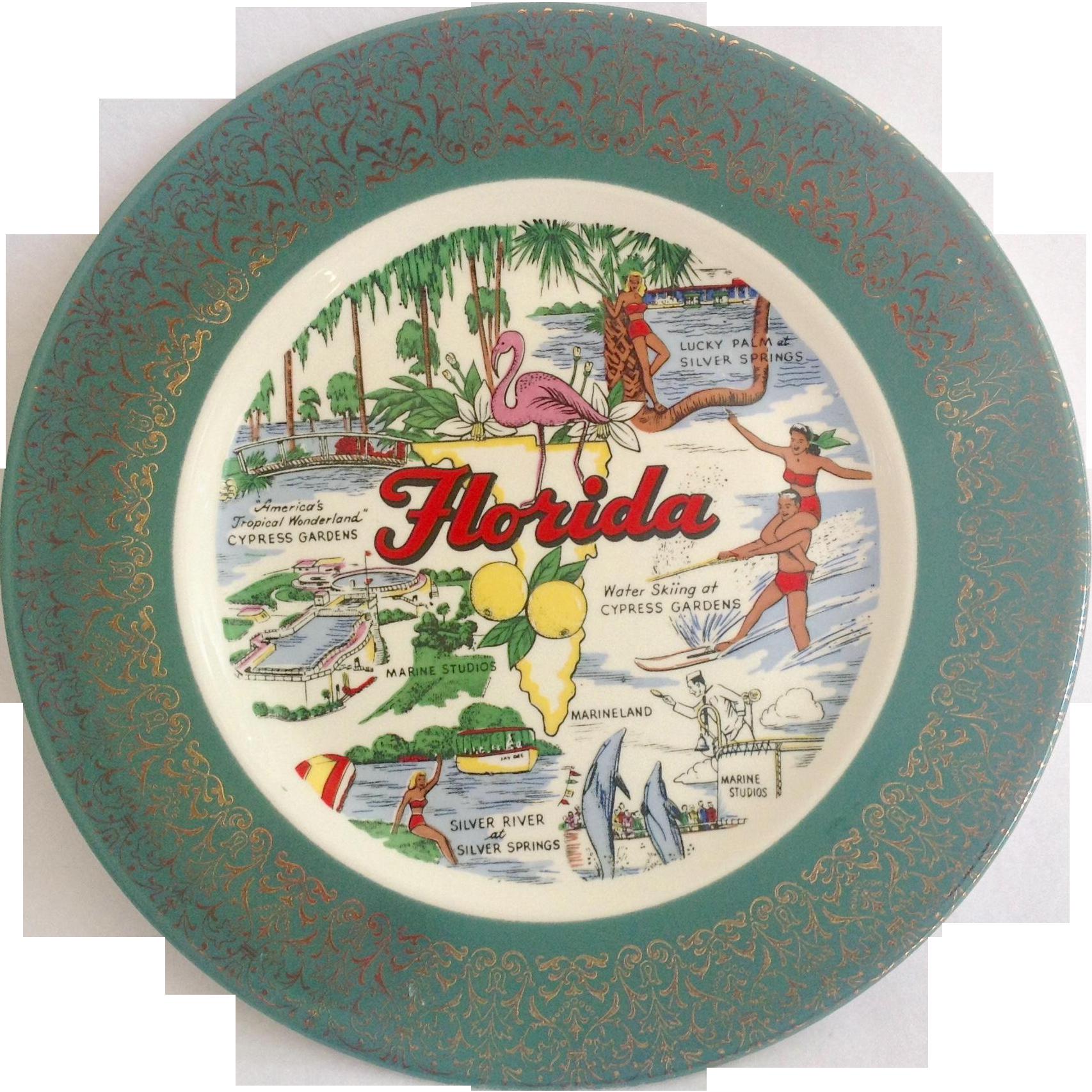 Florida State Souvenir Plate 1950s Homer Laughlin Cavalier Green Rim Gold Overlay