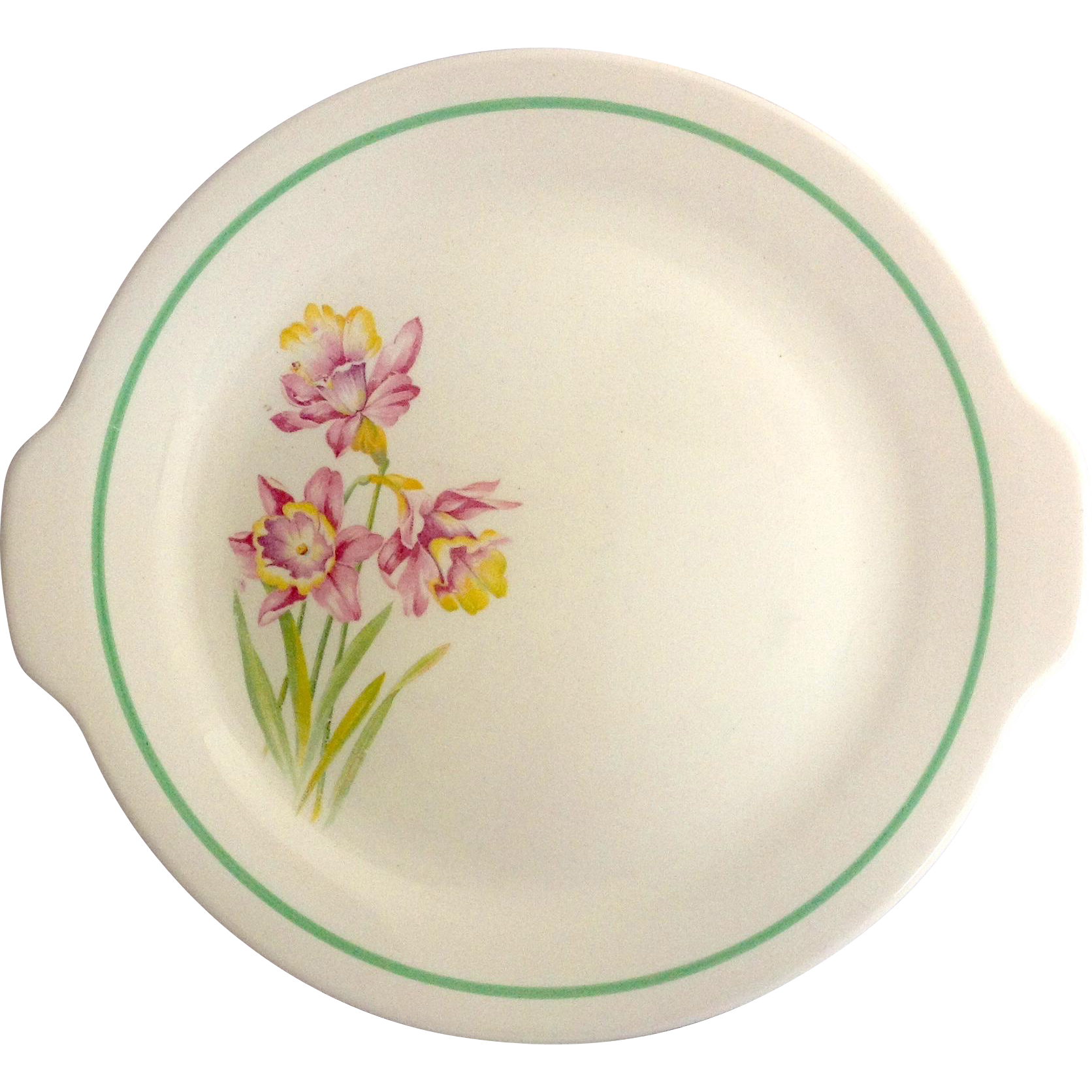 Vintage American Two Handled Serving Plate with Pink Daffodils