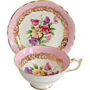 Paragon Bone China Teacup and Saucer A2985/4L Sweet Pea Pink with Gold Filigree