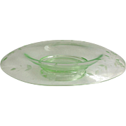 Wheel Cut Depression Glass Green Console Bowl