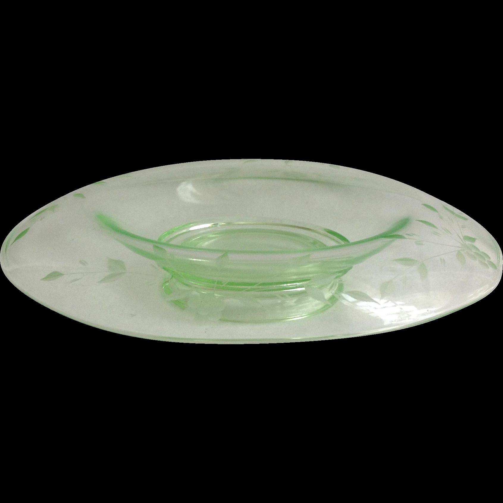 Wheel Cut Depression Glass Green Console Bowl