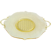 Lancaster Depression Glass #899 Topaz Cane Bottom 10-Inch Sandwich Plate