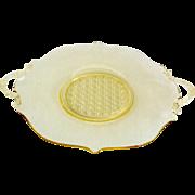 Lancaster Depression Glass #899 Topaz Cane Bottom 10-Inch Sandwich Plate