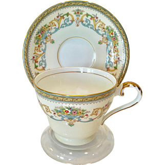 Aynsley Bone China Henley Blue and Yellow Basket Design Teacup and Saucer