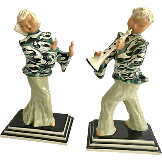 Pair Hedi Schoop Young China California Pottery Dancer and Musician Figurines