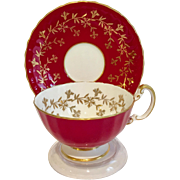 Aynsley Bone China Gold Floral on Red C2312 Teacup and Saucer