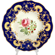 Antique W.T. Copeland, Spode Works, Cobalt Blue, Gold Overlay Rose Floral Center Dinner Plate 1850s