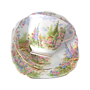 Royal Albert Bone China Kentish Rookery Teacup Saucer and Bread and Butter Plate