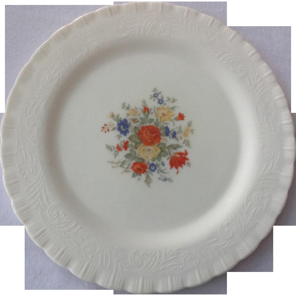 Chinex Classic White Depression Glass Center Floral Design 11-1/2 inch Sandwich Plate