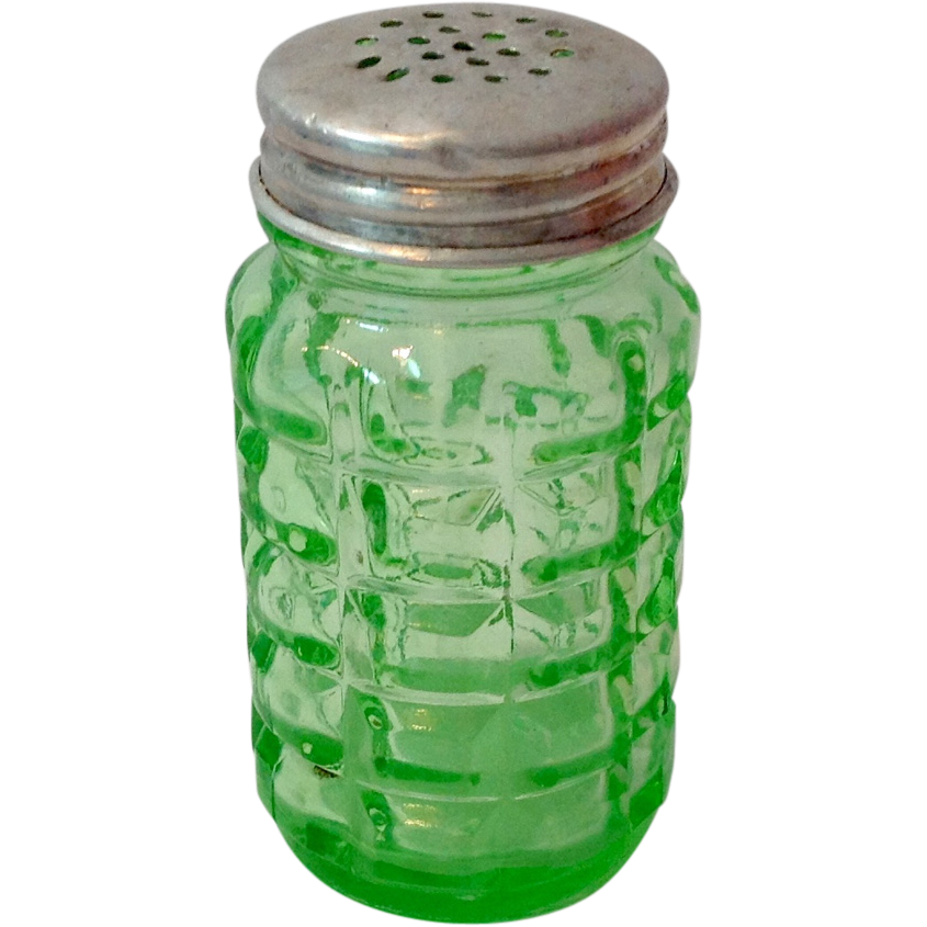 Hazel Atlas Vintage Green Glass Block Shaker