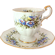 Rosina Wild Flowers Bone China England Blue Morning Glory Footed Demitasse Cup and Saucer