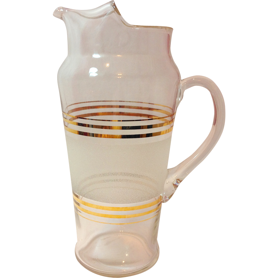 Mid Century Dunbar Glass Cocktail Pitcher Gold Trim Textured White Band