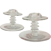Heisey Elegant Glass Crystal Candlesticks #113 Mars Circa 1930 Pair