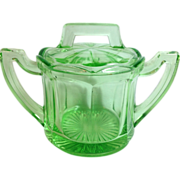 LE Smith Greensburg Glass Works Green Depression Glass Covered Sugar Bowl