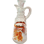 Retro Orange and Gold Anchor Hocking Pear and Strawberry Cruet