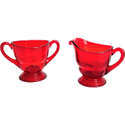 New Martinsville Moondrops Red Depression Glass Sugar and Creamer