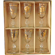 Libbey Glassware Golden Foliage 1 oz. Cordial Set of 6 Original Box