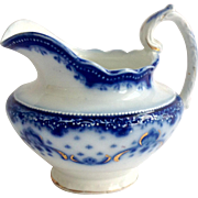 W. H. Grindley Flow Blue Keele Pattern Gold Accent Creamer