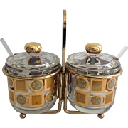 Culver Glass Carnival Mid-Century 22K Gold and Blue Condiment Set