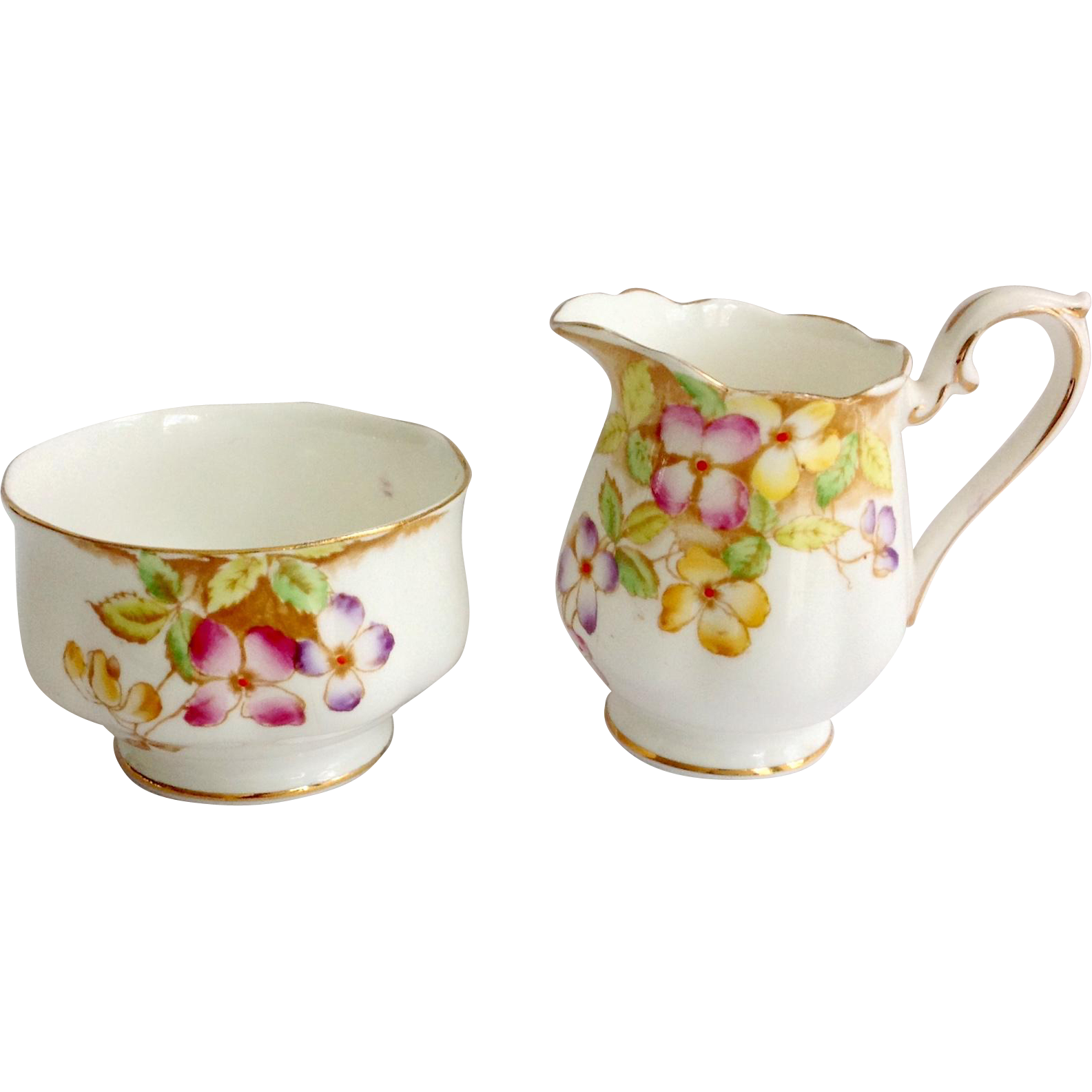 Royal Albert Bone China Clematis Cream and Sugar