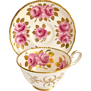 Royal Chelsea Bone China Pink Cabbage Roses and Gold Leaves 411A Teacup and Saucer