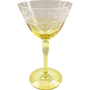 Westmoreland Design 229 Marigold Yellow and Crystal Cut Wine Goblet