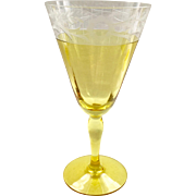 Westmoreland Design 229 Marigold Yellow and Crystal Cut Water Goblet