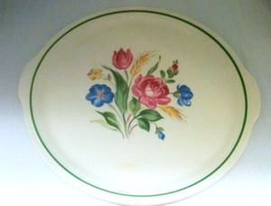 Circa 1940 Cronin 'Romance' Pottery Guild of America Round Platter Tab Handles