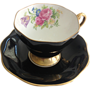 Foley Bone China Rose and Tulip Bouquet Black Teacup and Saucer
