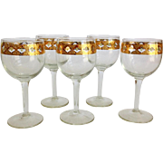 Culver Glass Valencia Mid Century Wine Goblets - Set of Five