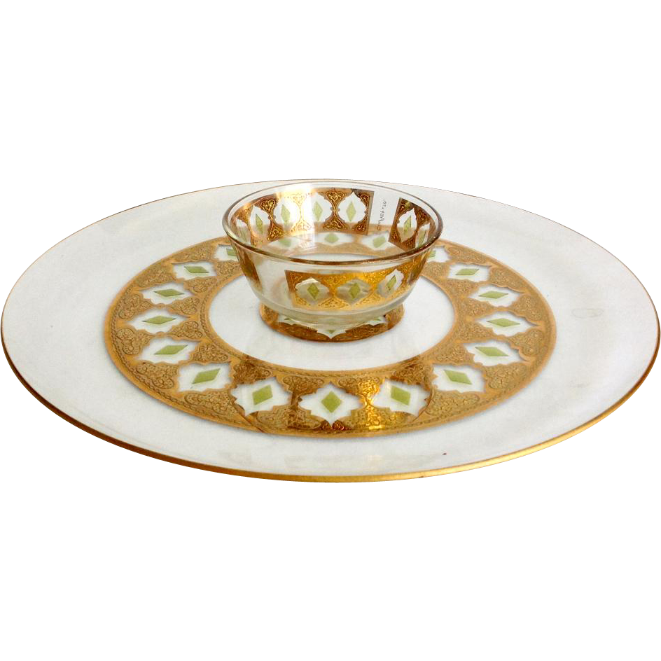 Culver Glass Valencia 22K Gold Mid Century Chip and Dip Platter Set