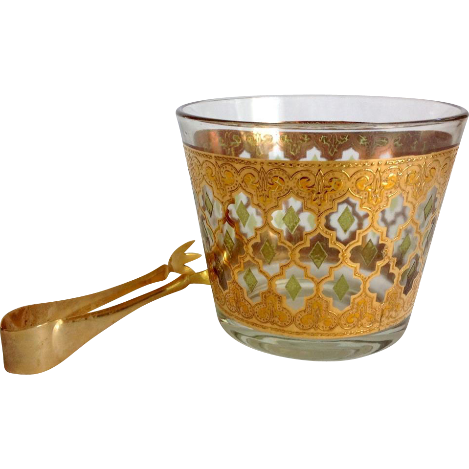 Culver Glass Valencia 22K Gold Mid Century Ice Tub with Tongs