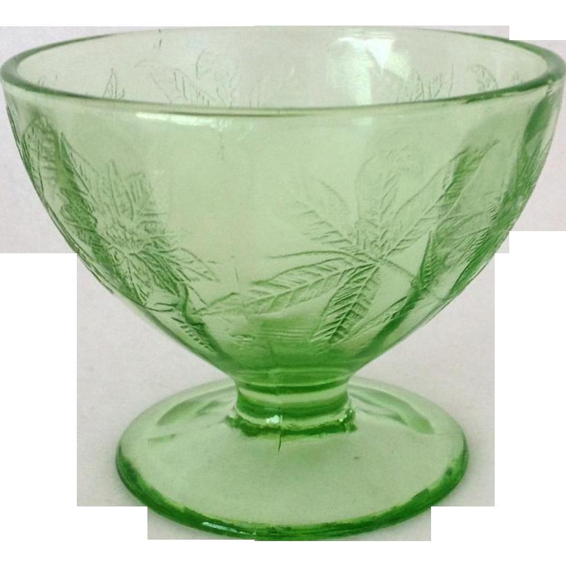 Jeannette Floral Poinsettia Green Depression Glass Sherbet