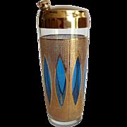 Culver Glass Aqua Tiffany Mid Century Cocktail Shaker