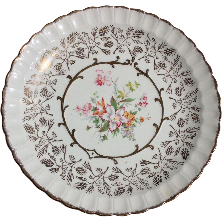 Wood & Sons England Avon Gold and Orchid Floral Fluted Plate