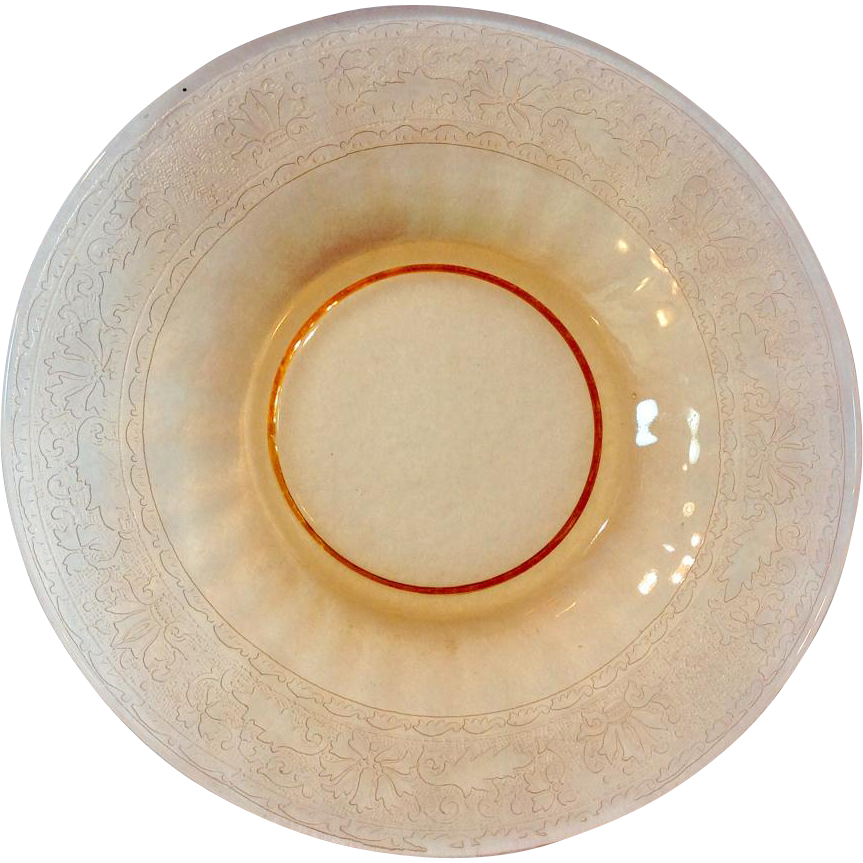 Fostoria Royal Elegant Glass Amber Etched Bread and Butter Plate