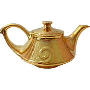 Pearl China 22K Gold on Gold Etched Floral Teapot Circa 1940s