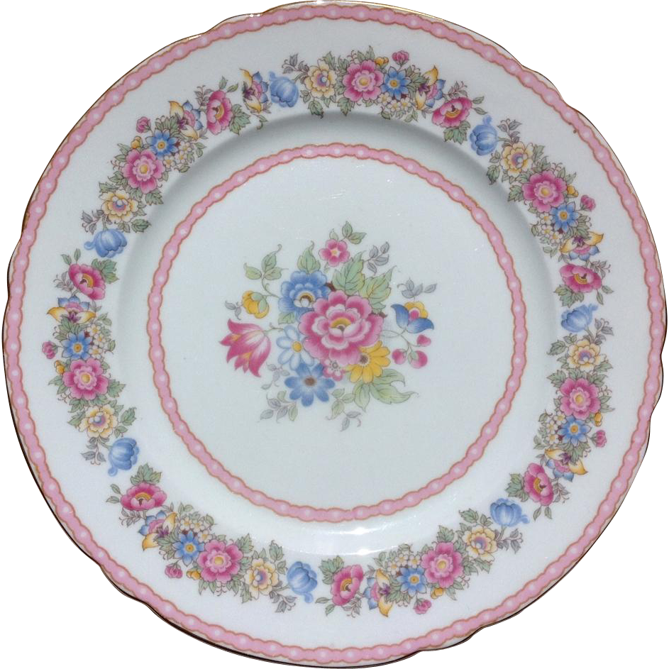 Shelley Bone China Pompadour Pink Floral Salad Plate