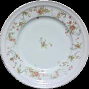 Haviland Limoges France Pink Roses Blue Scrolls Dinner Plate Schleiger 57