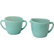 Anchor Hocking Fire King 1950s Turquoise Blue Cream and Sugar Set