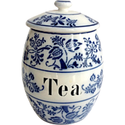 Germany Blue Onion Pottery tea canister