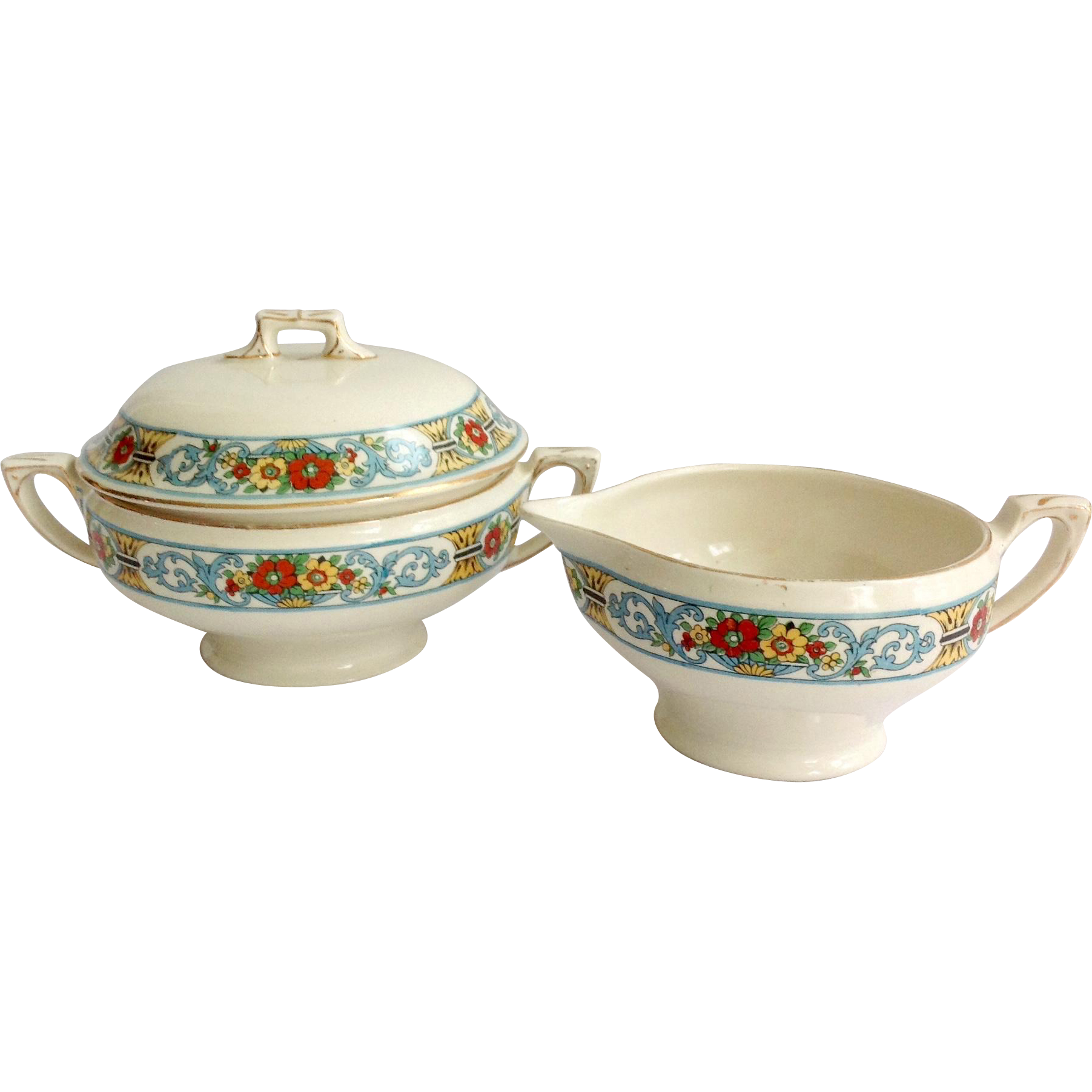 Myott Staffordshire Clifton Earthenware Covered Sugar and Creamer